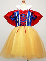 Girl's Yellow Dress , Bow Cotton Blend / Mesh All Seasons