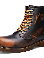 Women's Shoes Leather Flat Heel Motorcycle Boots / Combat Boots Boots Outdoor / Athletic / Casual Black / Brown