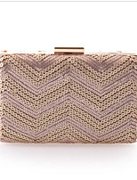 Women Polyester Baguette Evening Bag - Gold / Silver / Black
