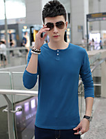 Men's Long Sleeve T-Shirt , Cotton / Elastic / Lycra Casual / Work Pure Round Neck Slim T-Shirt