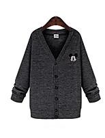 Women's Animal Blue / Gray Cardigan , Casual / Plus Sizes Long Sleeve