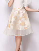 Women's Floral Black / Almond Skirts , Casual Knee-length