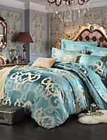 estilo retro azul royal cama jacquard set 4 peças
