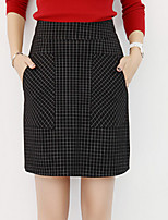 Women's Solid Black Skirts , Casual Mini