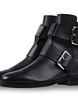Women's Shoes Leather Flat Heel Fashion Boots / Bootie Boots Office & Career / Party & Evening / Dress Black