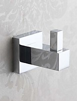 Bathroom Soild Brass Chrome Finish Robe Hook Square Single Towel Coat Bag Wall Hanger
