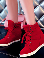 Scarpe Donna - Sneakers alla moda - Casual - Zeppe / Comoda / Punta arrotondata - Zeppa - Tessuto - Nero / Rosso