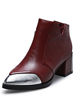 Women's Shoes Leather Chunky Heel Fashion Boots Boots Office & Career / Dress / Casual Black / Gray / Burgundy