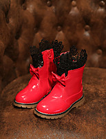 Girls' Shoes Wedding / Dress / Casual Fashion Boots / Comfort / Combat Boots Leatherette Boots Black / Pink / Red