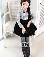 Girl's Gray Dress , Floral Cotton Blend Winter / Fall