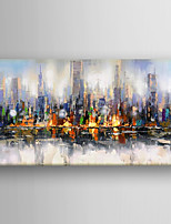 Hand Painted Abstract  Building Oil Painting with Stretched Framed Ready to Hang