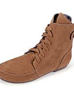 Chaussures Femme - Décontracté - Noir / Vert / Beige / Kaki - Talon Plat - Confort / Bottine / Bout Arrondi / Bout Fermé - Bottes - Daim