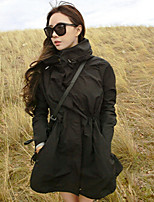 Women's Solid Black Trench Coat , Casual Long Sleeve Others
