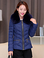 Women's Print / Solid Blue / Red / Black  Parka Coat , Casual Hooded Long Sleeve