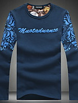 Masculino Camiseta Casual / Esporte / Tamanhos Grandes Estampado Algodão Manga Comprida Masculino