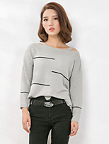 Women's Solid Gray Pullover , Sexy / Casual Long Sleeve