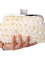 Women Polyester / Metal Minaudiere Clutch / Evening Bag - Beige