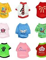 Todas las Estaciones - Colores Aleatorios - Cosplay - Algodón - Camiseta - Perros / Gatos - XS / S / M / L