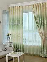Two Panels Green purple  Floral Print Curtain