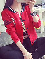Women's Striped / Color Block Pink / Red / White / Black / Gray Cardigan , Casual / Cute / Work Long Sleeve
