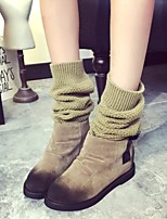 Women's Shoes Fleece Flat Heel Fashion Boots Boots Office & Career / Dress / Casual Black / Khaki