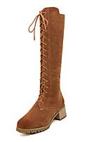 Calçados Femininos - Botas - Arrendondado - Salto Grosso - Preto / Marrom - Camursa - Casual