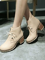 Women's Shoes Leatherette Chunky Heel Combat Boots / Round Toe BootsOffice & Career / Casual Black / Blue / Pink / Beige