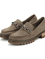 Women's Shoes Suede Low Heel Comfort Loafers Casual Black / Brown / Khaki