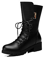 Women's Shoes Synthetic Chunky Heel Snow Boots / Motorcycle Boots / Combat Boots Office & Career / / Casual Black / Red