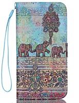 iphone 7 плюс слон шаблон высокого качества бумажник рука веревка раздел телефона случай для iphone 6 / 6с