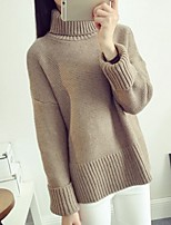 Women's All Match High Collar Revers Long Sleeve Pure Color Pullover