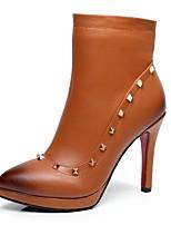 Scarpe Donna - Stivali - Formale / Casual - Plateau / A punta / Stivali - A stiletto - Finta pelle - Nero / Marrone