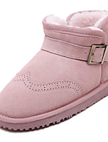 Women's Snow Boots Shoes Leather Flat Heel Snow Boots Outdoor / Dress / Casual Black / Pink / Gray / Khaki Shoes