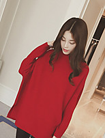 Women's Solid Red / Camel Pullover , Casual Long Sleeve
