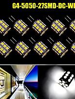 10x blanco puro 360 ° pin g4 27 SMD LED 5050 del coche embarcación marina dc12v lámpara del bulbo 450lm