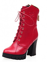 Women's Shoes Chunky Heel Comfort Boots Outdoor Black / Red / White