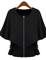 Women's Solid Black / Brown Blazer , Casual Round Neck ¾ Sleeve