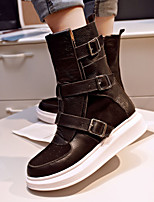 Women's Shoes Leather Platform Fashion Boots / Motorcycle Boots Boots Outdoor / Office & Career / Dress / CasualBlack /