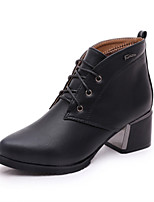Women's Shoes Chunky Heel Wedges / Fashion Boots Boots Outdoor / Casual Black / Brown / Red