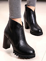 Women's Shoes Patent Leather Chunky Heel Combat Boots Boots Casual Black / Red