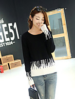 Women's Color Block White / Black Pullover , Sexy / Casual Long Sleeve