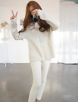 Women's Solid White Pullover , Casual Long Sleeve