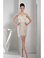 Vestido de Dama de Honor - Champaña Corte Recto Escote A la Base - Corto Encaje