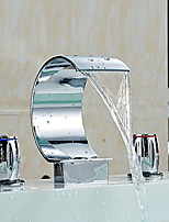 Waterfall Chrome Bathroom Sink Faucet Vessel Faucet Centerset Widespread Modern Two Handle Three Hole Faucets