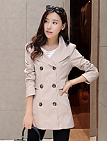 Women's Solid Brown / Green / Yellow Trench Coat , Casual Long Sleeve Cotton Blends