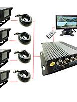 de cuatro de cassette del coche de 4 vías de vídeo DVR viajes en autobús coche logística d1 monitor de video del coche camión sd de alta