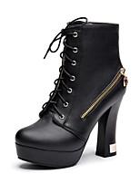 Zapatos de mujer - Tacón Robusto - Comfort / Botas a la Moda - Botas - Exterior / Oficina y Trabajo / Casual - Semicuero -Negro / Blanco