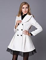 Women's Autumn Winter New Fashion Long Sleeve Slim Wool Warm Plus Size Dust Coat