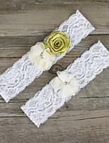 2pcs/set Gold And Milk White Satin Lace Chiffon Beading Wedding Garter