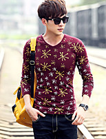 Men's Long Sleeve V-neck T-Shirt , Cotton Casual Print